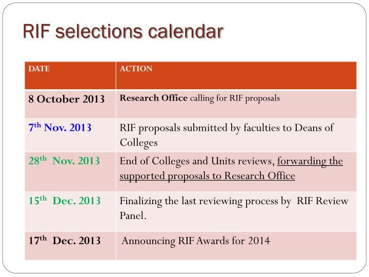 RIF selections calendar