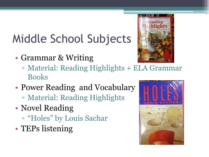 Middle School Subjects