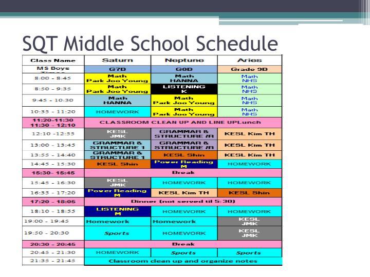 SQT Middle School Schedule