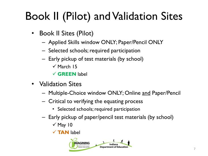 Book II (Pilot) and Validation Sites