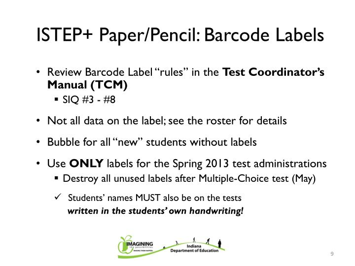 ISTEP+ Paper/Pencil: Barcode Labels