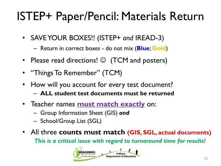 ISTEP+ Paper/Pencil: Materials Return