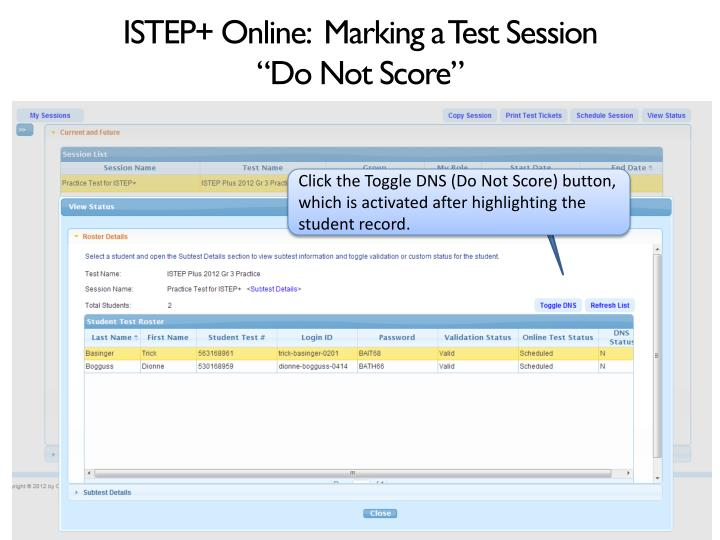 ISTEP+ Online:  Marking a Test Session