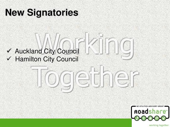 New Signatories