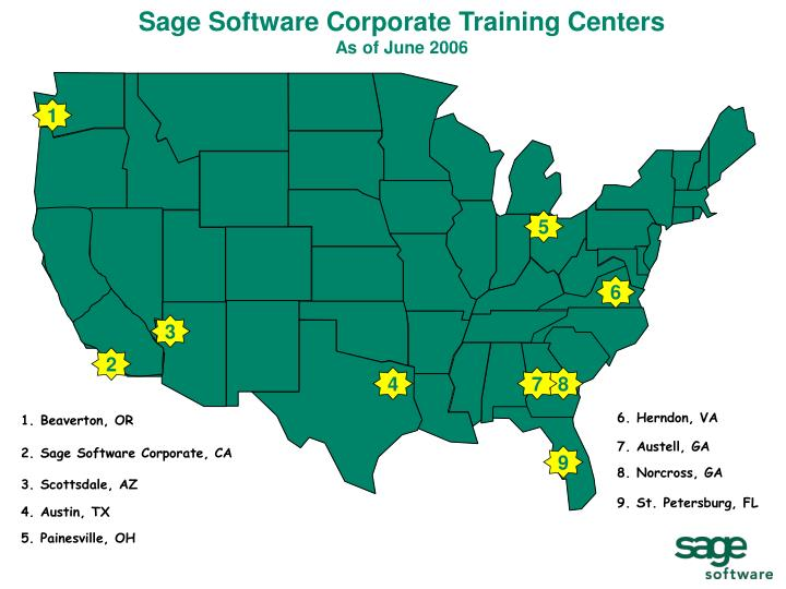 sage software corporate training centers as of june 2006