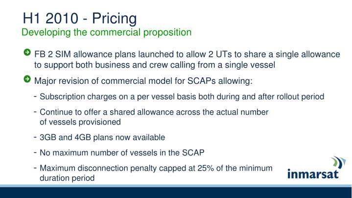 H1 2010 - Pricing
