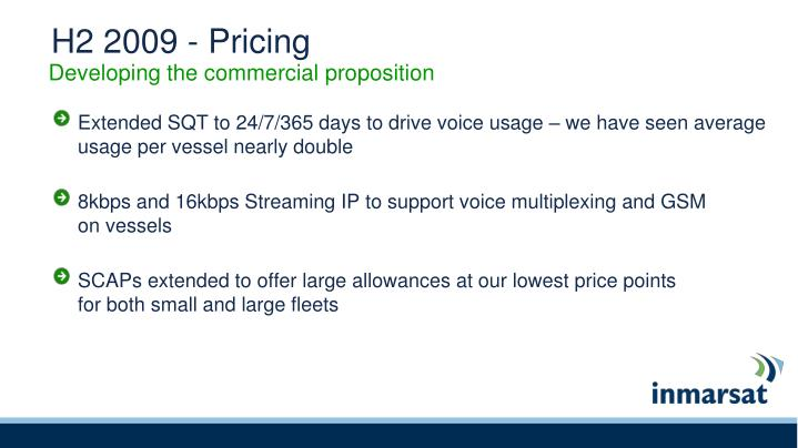H2 2009 - Pricing