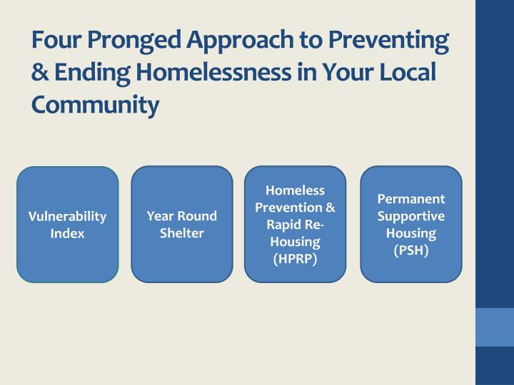 Four Pronged Approach to Preventing & Ending Homelessness in Your Local Community
