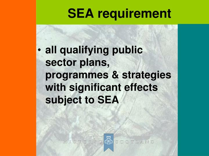all qualifying public sector plans, programmes & strategies with significant effects subject to SEA