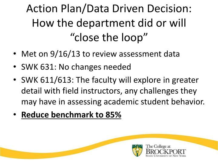 Action Plan/Data Driven Decision: