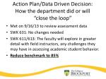action plan data driven decision how the department did or will close the loop