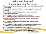 what was assessed student learning outcomes