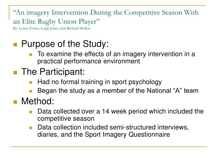 """An imagery Intervention During the Competitive Season With an Elite Rugby Union Player"""