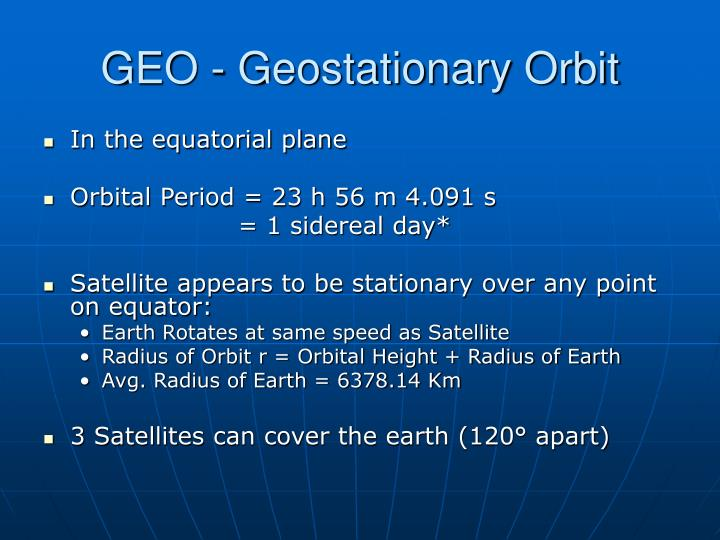 GEO - Geostationary Orbit