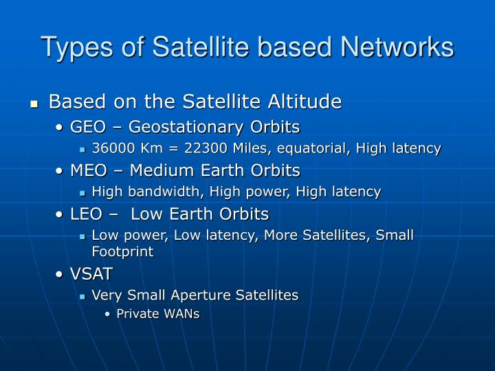 Types of Satellite based Networks