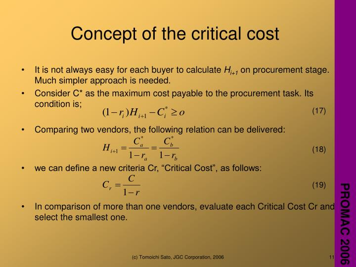 Concept of the critical cost