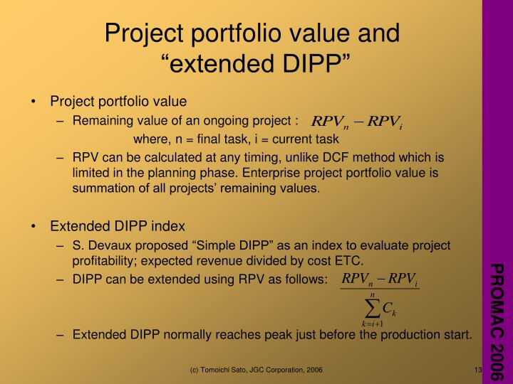 Project portfolio value and