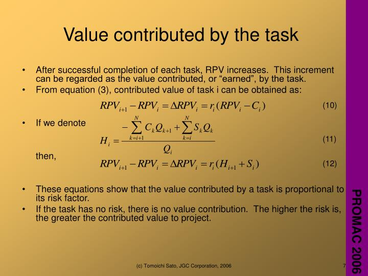 Value contributed by the task