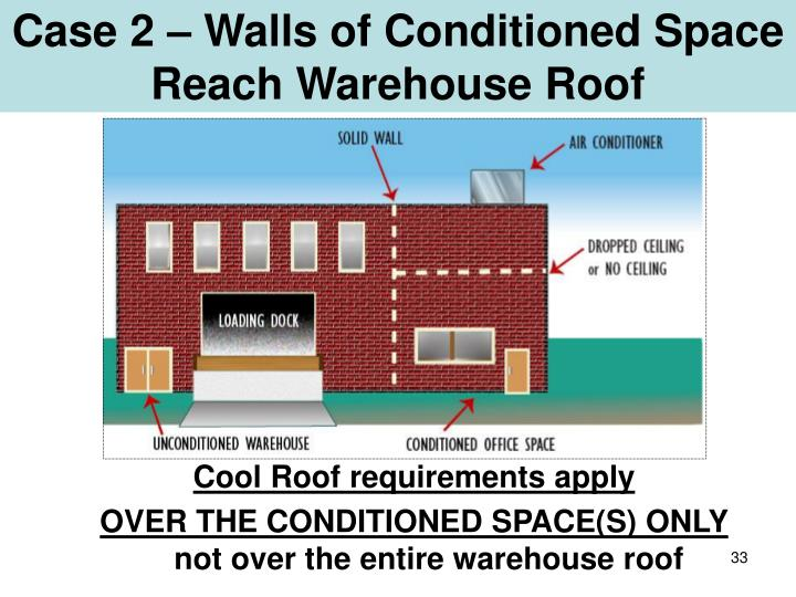 Case 2 – Walls of Conditioned Space Reach Warehouse Roof