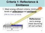 criteria 1 reflectance emittance