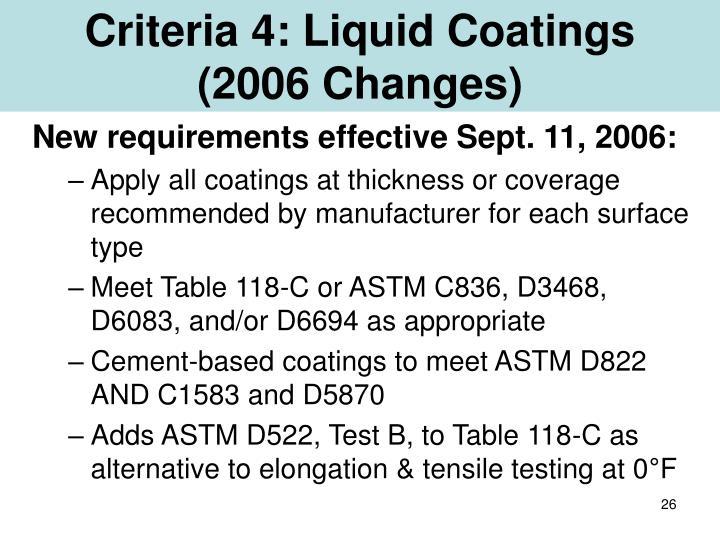 Criteria 4: Liquid Coatings
