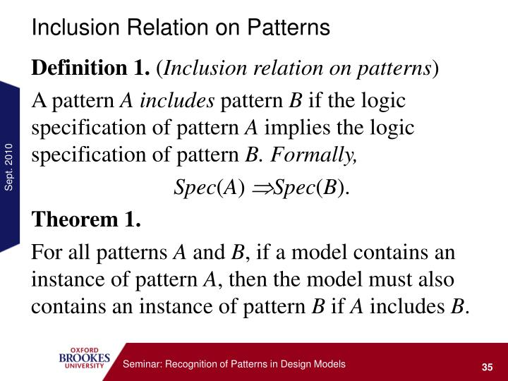 Inclusion Relation on Patterns