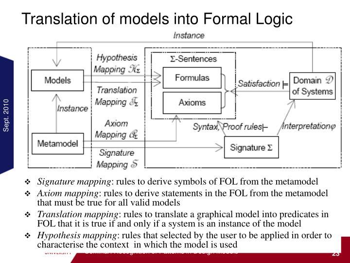 Translation of models into Formal Logic