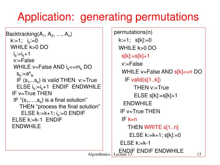 Application:  generating permutations