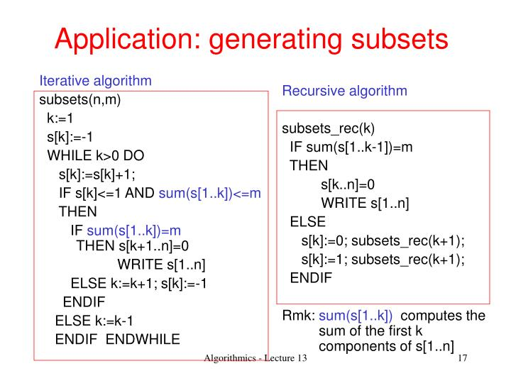 Application: generating subsets