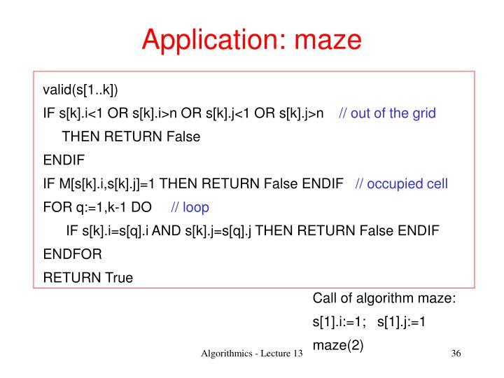 Application: maze