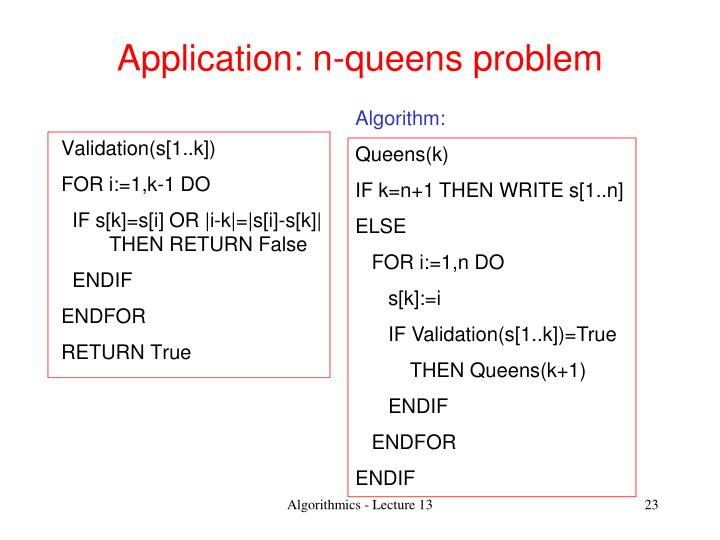 Application: n-queens problem