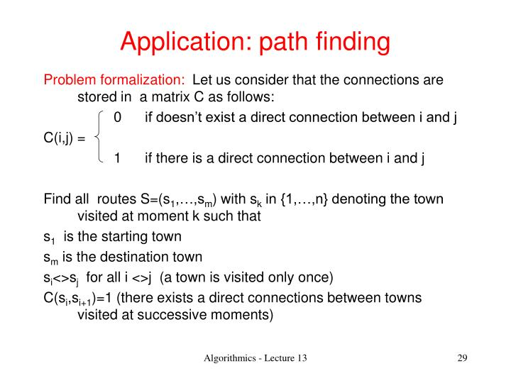 Application: path finding