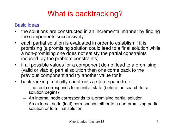 What is backtracking?