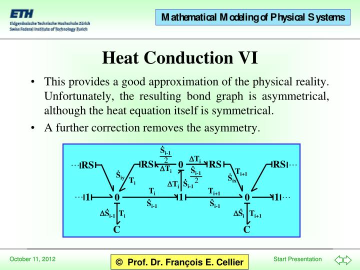 This provides a good approximation of the physical reality.  Unfortunately, the resulting bond graph is asymmetrical, although the heat equation itself is symmetrical.