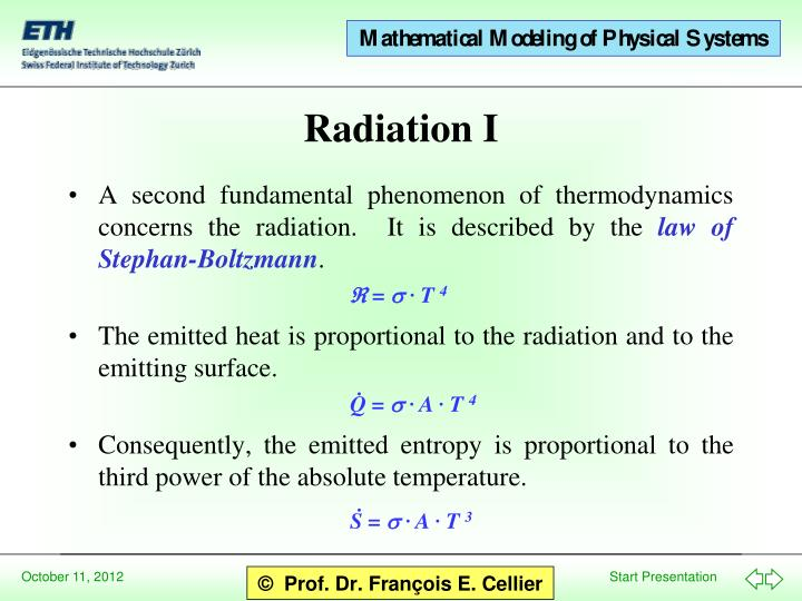 A second fundamental phenomenon of thermodynamics concerns the radiation.  It is described by the