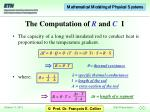 the computation of r and c i