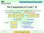 the computation of r and c ii