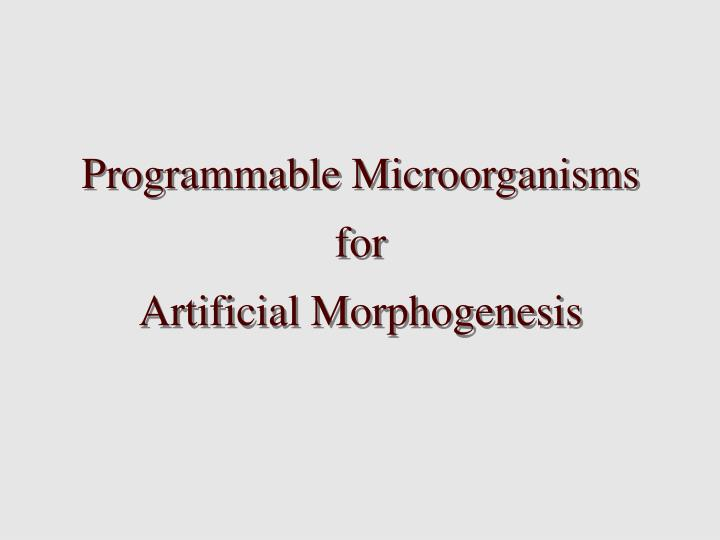 Programmable Microorganisms