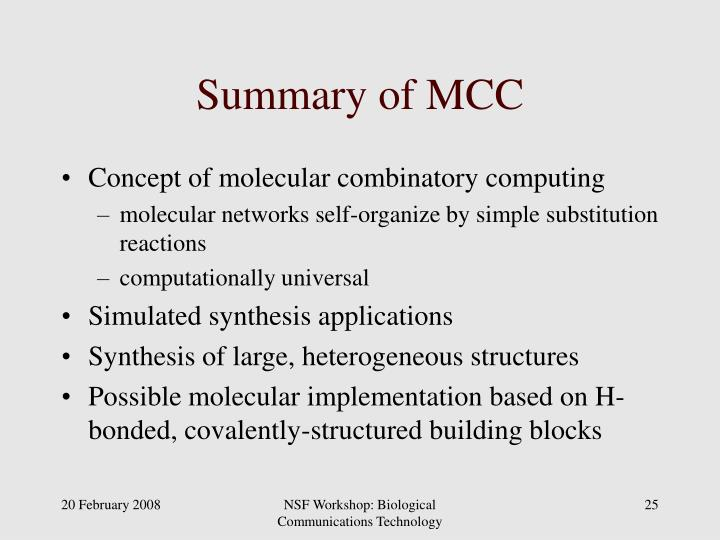 Summary of MCC