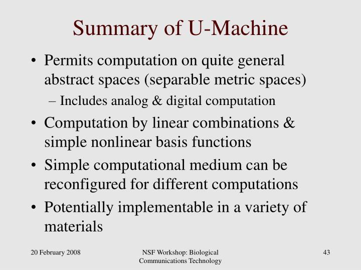 Summary of U-Machine