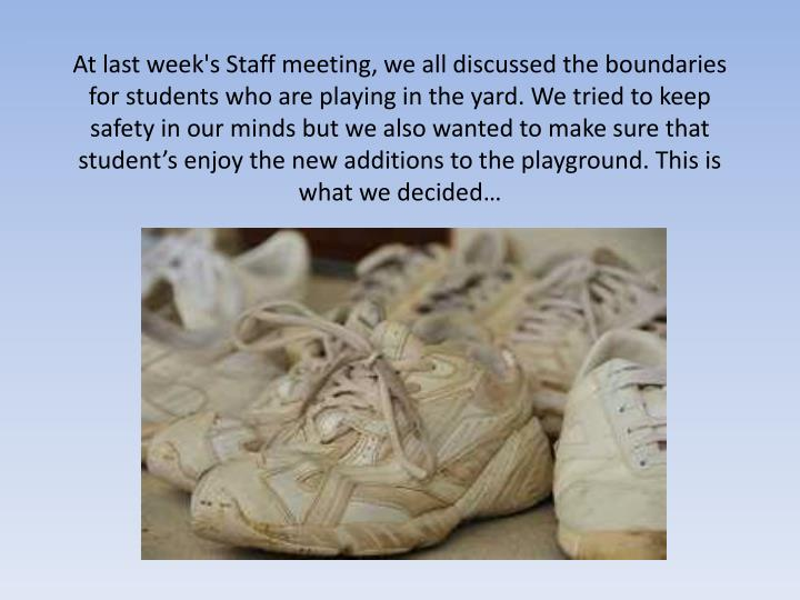 At last week's Staff meeting, we all discussed the boundaries for students who are playing in the ya...