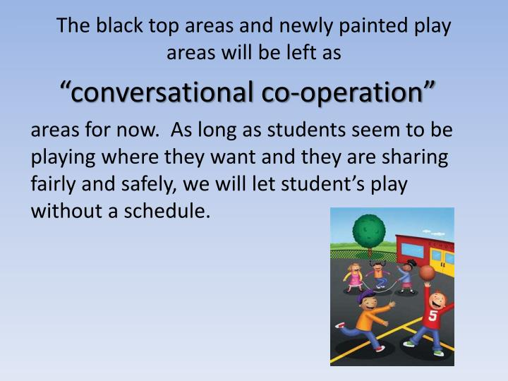 The black top areas and newly painted play areas will be left as