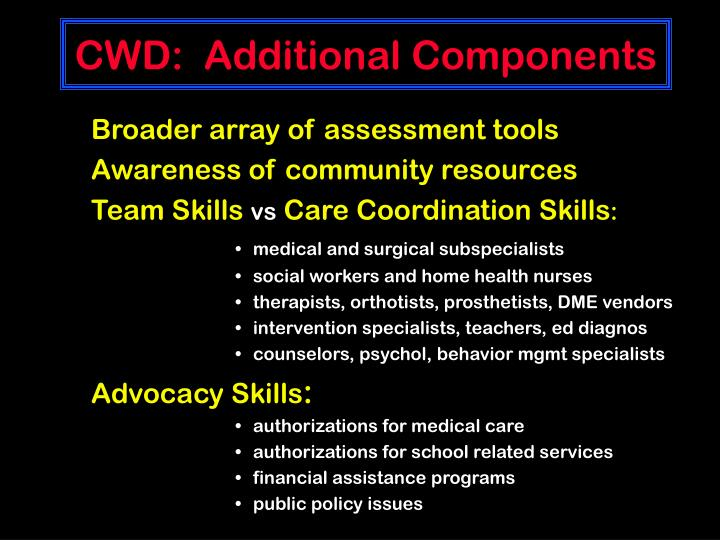 CWD:  Additional Components