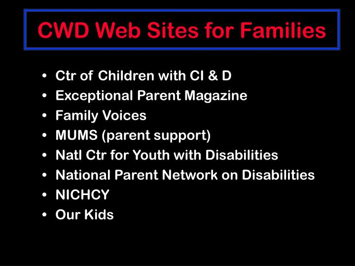 CWD Web Sites for Families