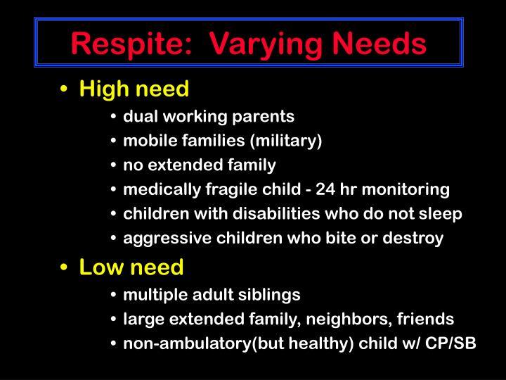 Respite:  Varying Needs
