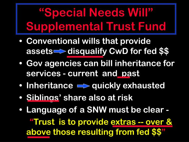"""""""Special Needs Will"""""""