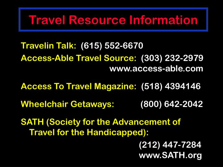 Travel Resource Information