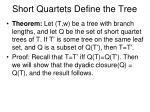 short quartets define the tree