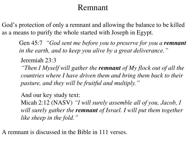 God's protection of only a remnant and allowing the balance to be killed as a means to purify the whole started with Joseph in Egypt.