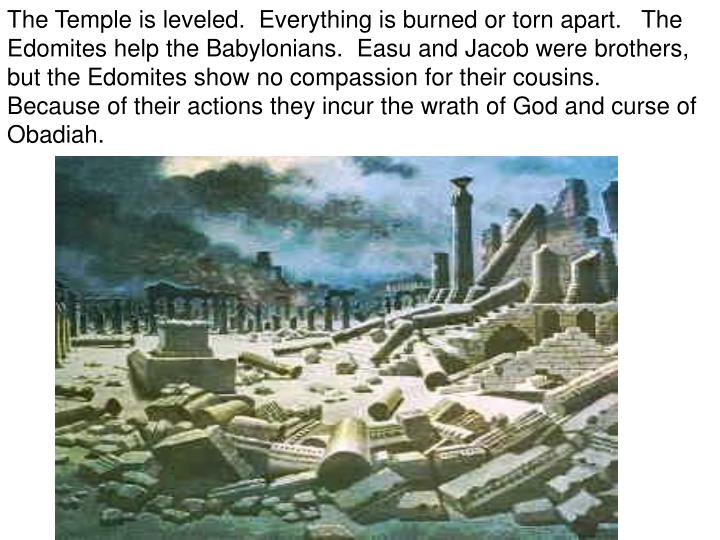 The Temple is leveled.  Everything is burned or torn apart.   The Edomites help the Babylonians.  Easu and Jacob were brothers, but the Edomites show no compassion for their cousins.   Because of their actions they incur the wrath of God and curse of Obadiah.
